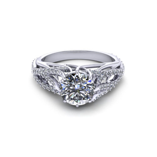 Feathery Diamond Engagement Ring