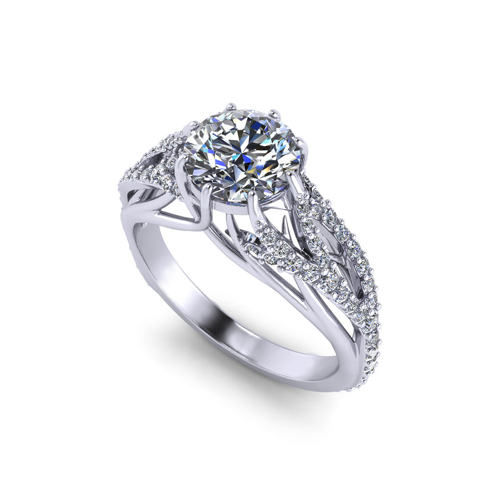 feathery diamond engagement ring jewelry designs