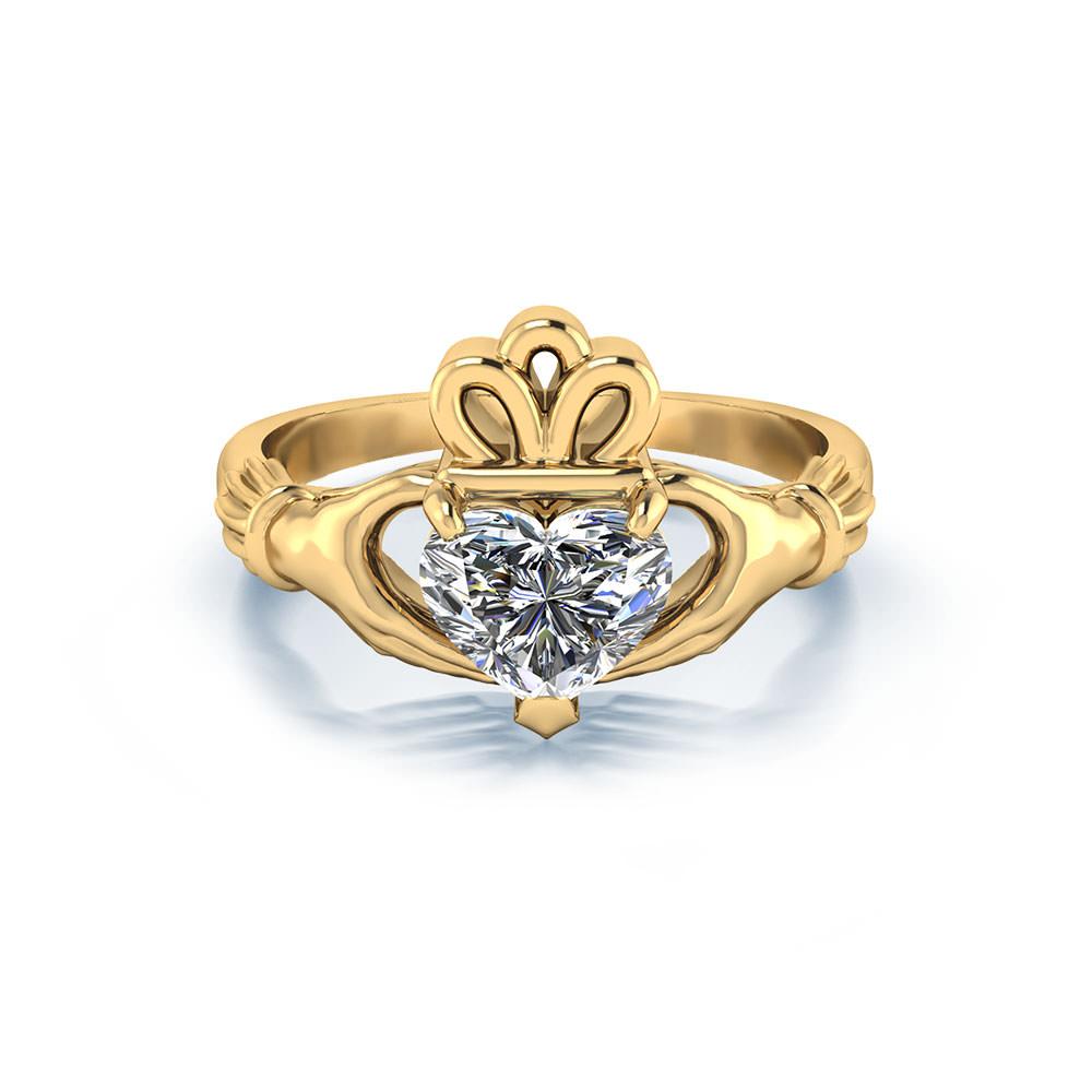 Heart Diamond Claddagh Engagement Ring