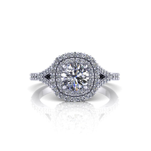 Split Double Halo Engagement Ring
