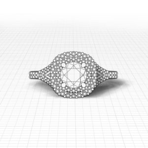 Split Double Halo Engagement Ring