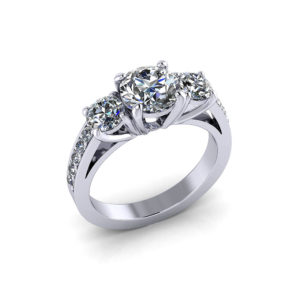 Bridged 3 Stone Engagement Ring