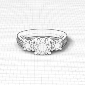 Bridged 3 Stone Engagement Ring