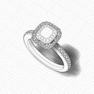 Halo Cushion Engagement Ring