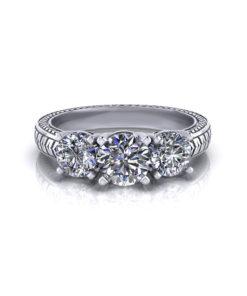Herringbone 3 Stone Engagement Ring
