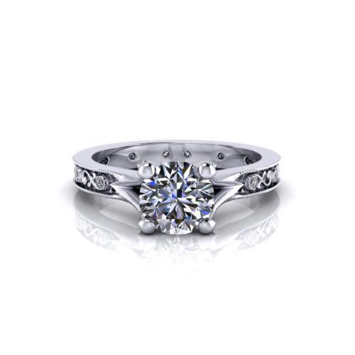 Embossed Diamond Engagement Ring