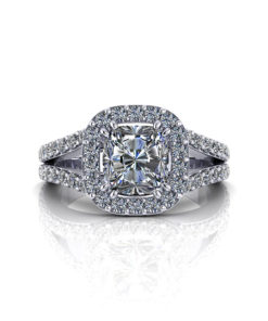 Cushion Diamond Halo Engagement Ring