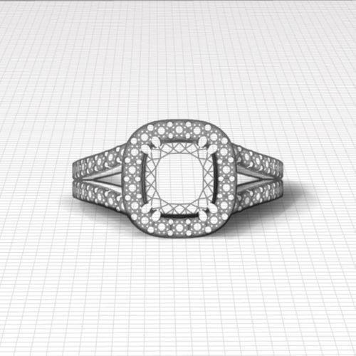 Cushion Diamond Halo Engagement Ring