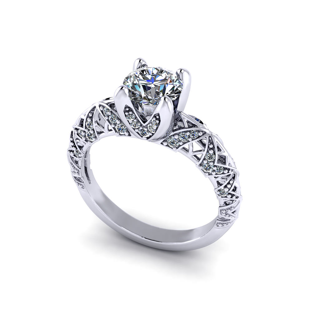 Artistic Diamond Engagement Ring - Jewelry Designs