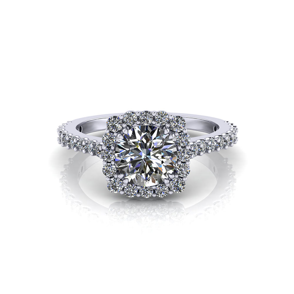 Low Halo Engagement Ring