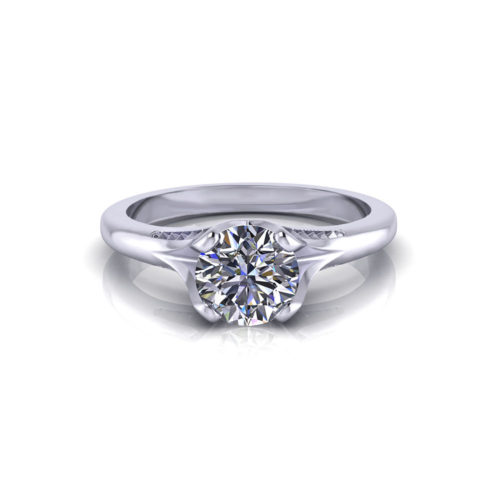 Ribbed Solitaire Engagement Ring