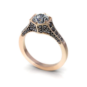 Black Pave Rose Gold Engagement Ring