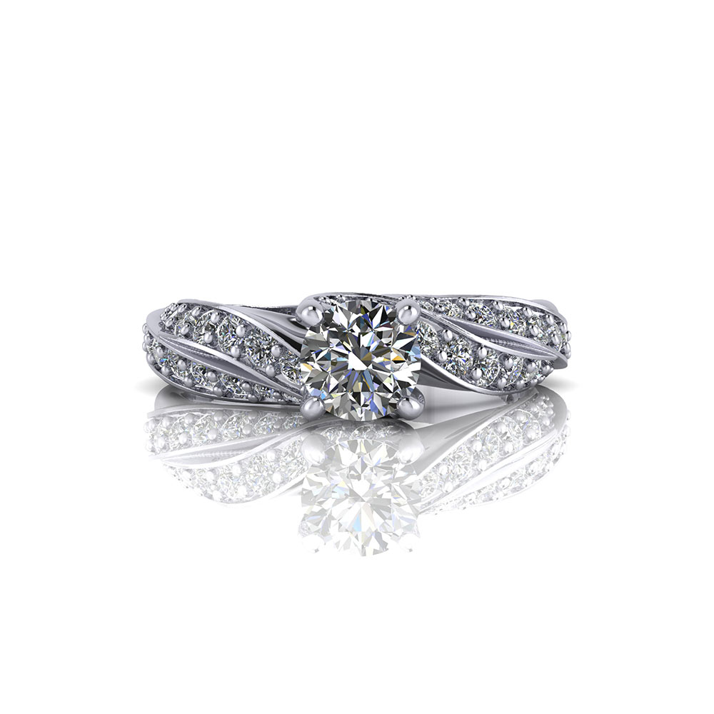 Diamond Ribbon Engagement Ring