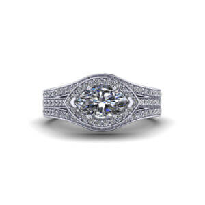 Horizontal Marquise Engagement Ring