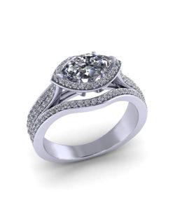 Horizontal Marquise Engagement Ring