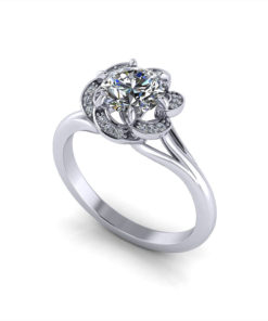 Ruffled Halo Engagement Ring