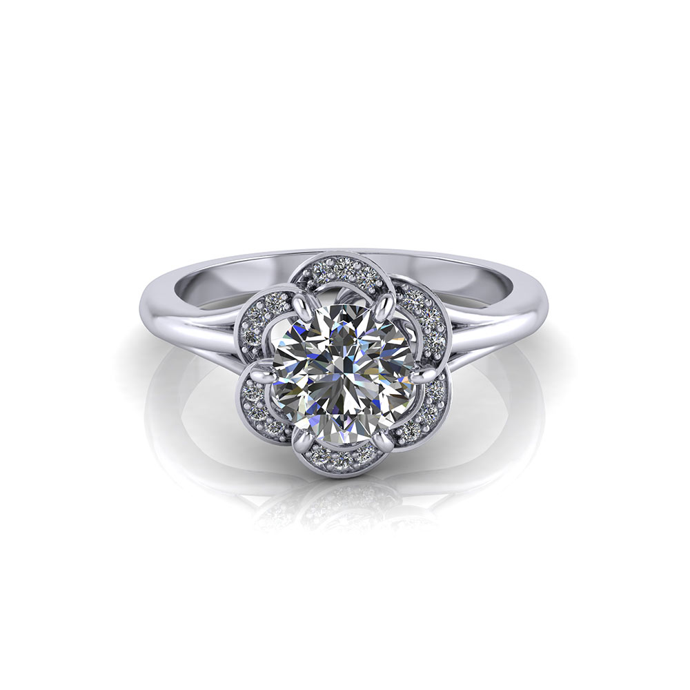 Ruffled Halo Engagement Ring
