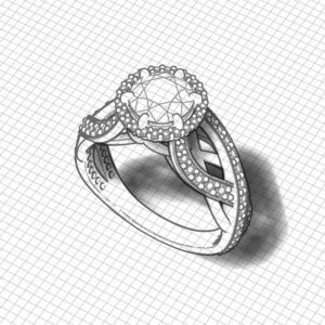 Artistic Halo Engagement Ring