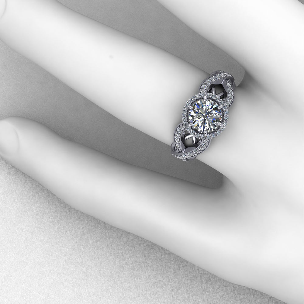 Artistic Halo Engagement Ring | Jewelry Designs