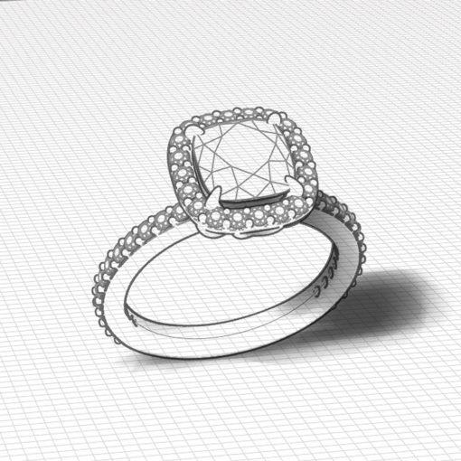 Diamond Cushion Halo Engagement