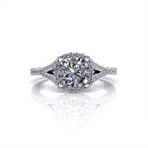 Split Round Halo Engagement Ring