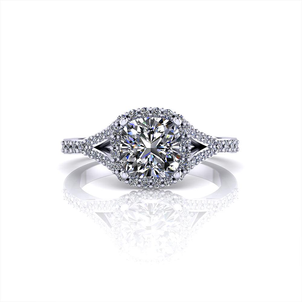 Split Round Halo Engagement Ring