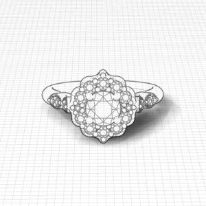 Chevron Halo Engagement Ring