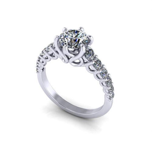 Scrolling Trellis Engagement Ring