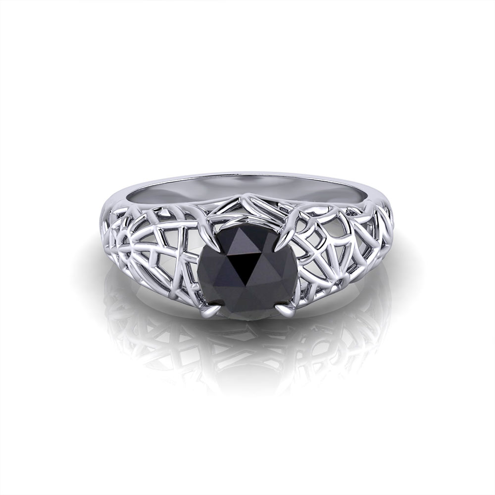 Black Diamond Spider Web Ring