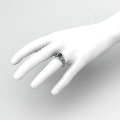 Black Diamond Spider Web Ring