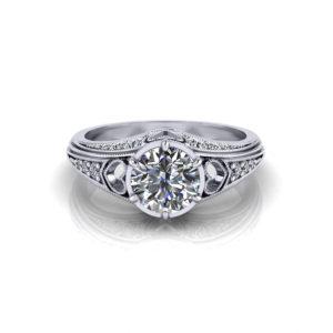 Filigree Heart Engagement Ring