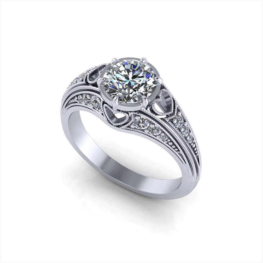 Filigree Heart Engagement Ring
