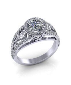 Rose Halo Engagement Ring