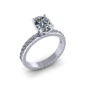 Detailed Oval Diamond Engagement Ring