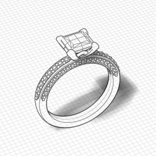 Princess Line Engagement Ring