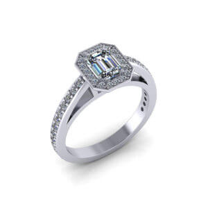 Halo Emerald Diamond Engagement Ring