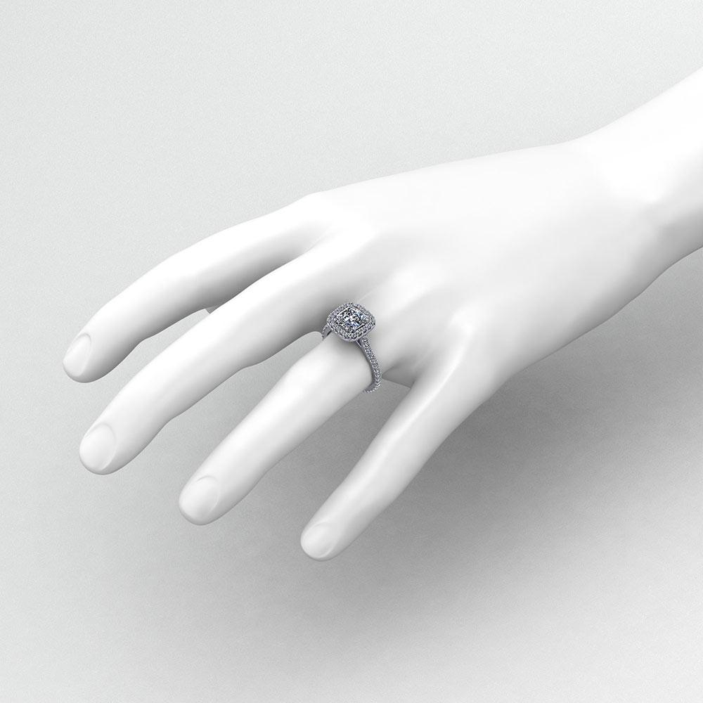Cushion Cut Halo Engagement Ring