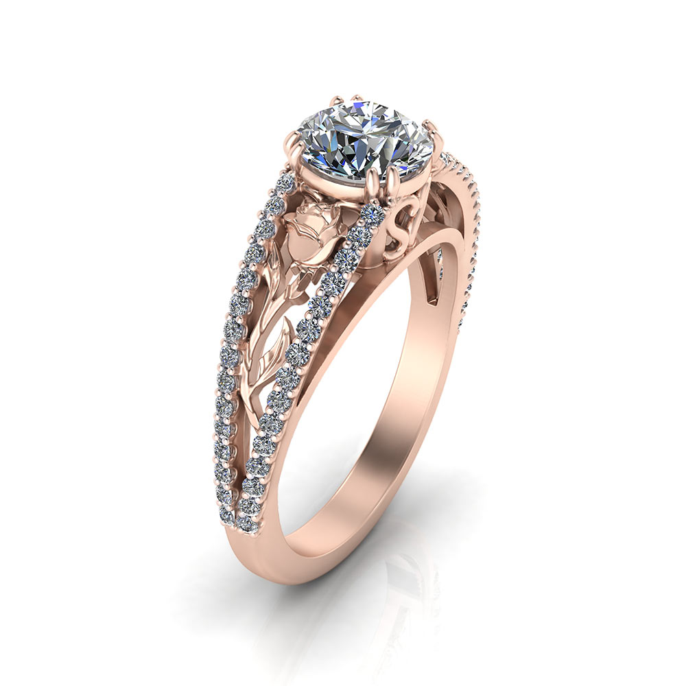 Pink Gold Rose Engagement Ring