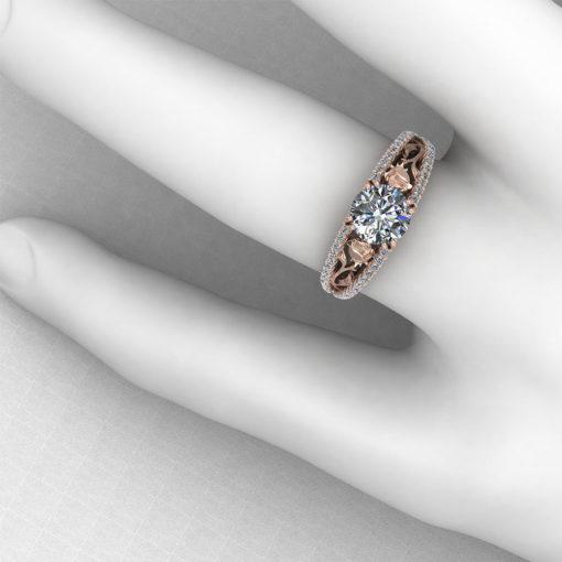 Pink Gold Rose Engagement Ring