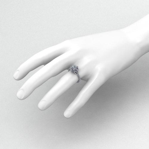 Spiraling Halo Engagement Ring
