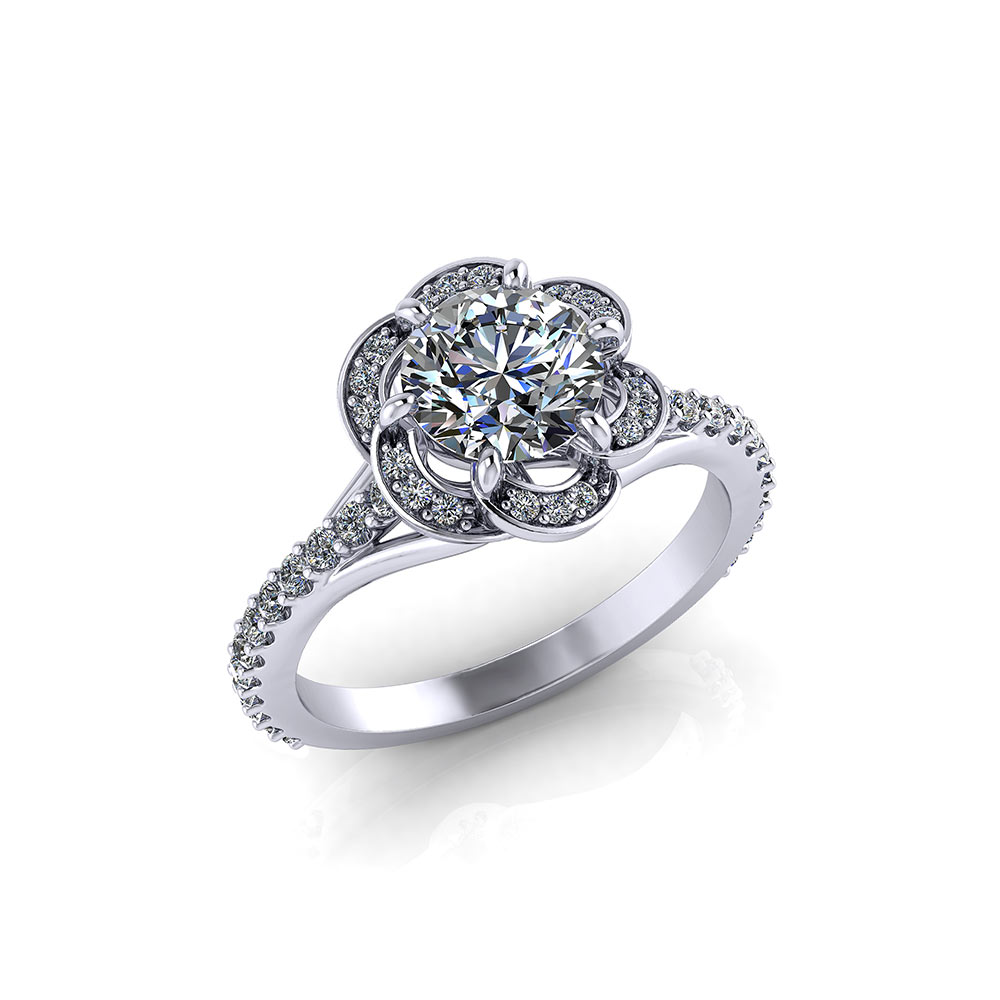 Spiraling Halo Engagement Ring