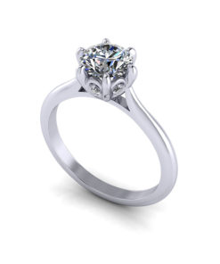6 Prong Petal Engagement Ring