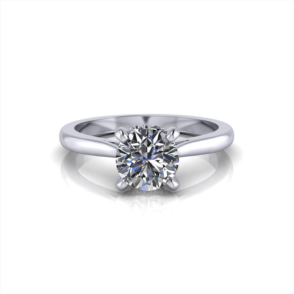 Accented 4 Prong Engagement Ring