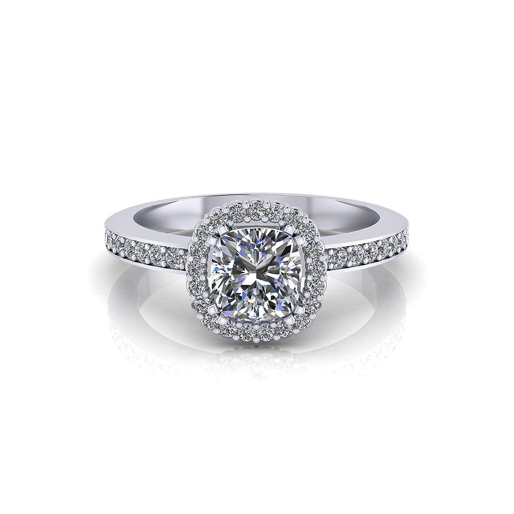 Classic Cushion Halo Engagement Ring