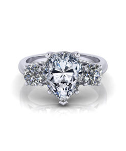 Pear Shape 3 Stone Trellis Engagement