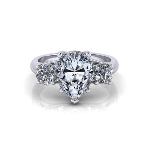 Pear Shape 3 Stone Trellis Engagement