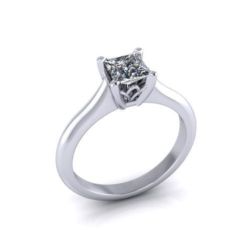 Solitaire Princess Cut Engagement Ring