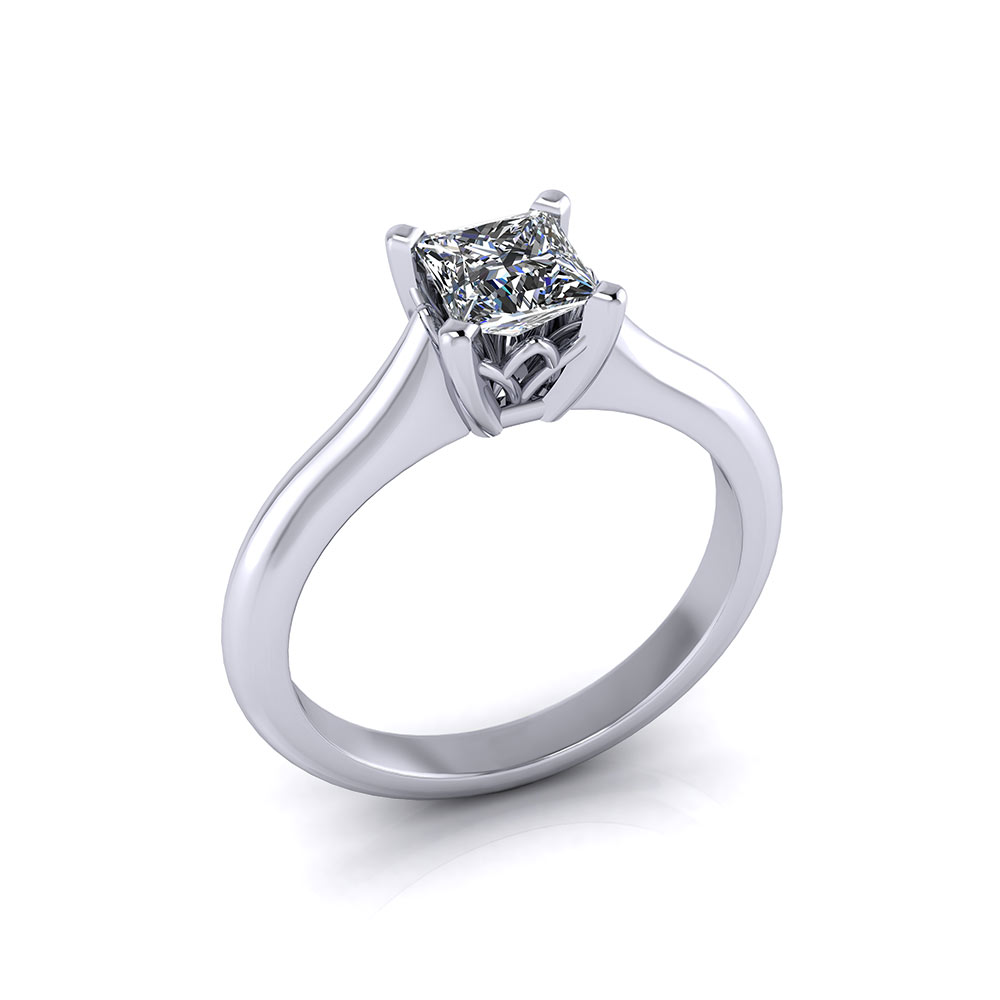 Solitaire Princess Cut Engagement Ring Jewelry Designs