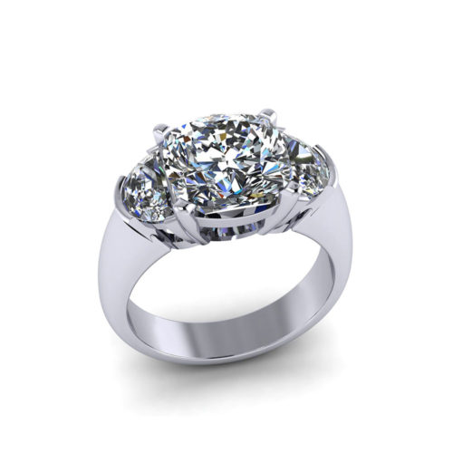 Half Moon Cushion Cut Engagement Ring