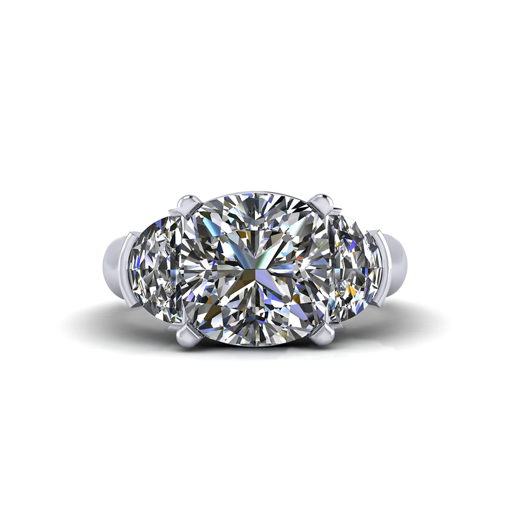 Half Moon Cushion Cut Engagement Ring